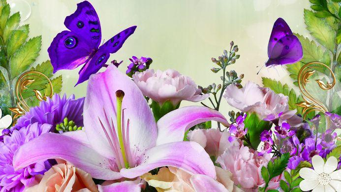 springflowersbutterflies